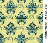 green paisley floral pattern on ... | Shutterstock .eps vector #255323140