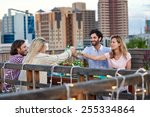 group of friends making a toast ... | Shutterstock . vector #255334864