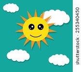 vector illustration of a happy... | Shutterstock .eps vector #255340450