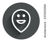 happy face map pointer symbol.... | Shutterstock .eps vector #255343300