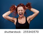 angry crazy hipster girl grabs... | Shutterstock . vector #255343570