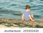 adorable toddler with sailor... | Shutterstock . vector #255352420