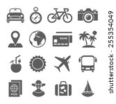 travel black and white icons | Shutterstock .eps vector #255354049