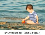 toddler with sailor shirt... | Shutterstock . vector #255354814