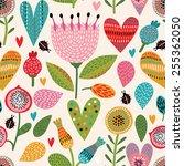 romantic floral seamless pattern | Shutterstock .eps vector #255362050