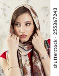 young sexy girl in a headscarf | Shutterstock . vector #255367243
