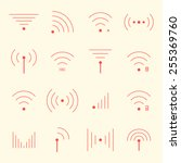 thin red wifi icons on yellow... | Shutterstock .eps vector #255369760