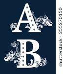 vintage floral alphabet set.  | Shutterstock . vector #255370150