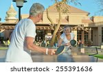 Elderly Couple Playing Ping...