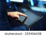 male hand touching screen... | Shutterstock . vector #255406438
