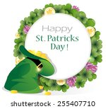 leprechaun hat and gold coins... | Shutterstock .eps vector #255407710