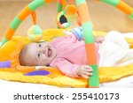 innocent baby smiling and... | Shutterstock . vector #255410173