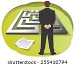 businessman is looking at maze... | Shutterstock .eps vector #255410794