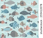 vector background with fishes | Shutterstock .eps vector #255412078