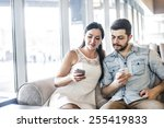 serious couple love sit on sofa ... | Shutterstock . vector #255419833