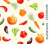 watercolor vegetables seamless... | Shutterstock .eps vector #255434140