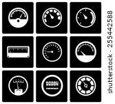 vector black meter icon set on... | Shutterstock .eps vector #255442588