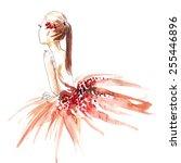 watercolor ballerina in red ... | Shutterstock .eps vector #255446896