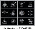 futuristic geometric hipster... | Shutterstock .eps vector #255447598