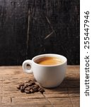 cup of hot espresso coffee and... | Shutterstock . vector #255447946