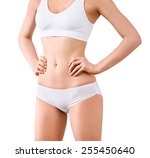 woman with perfect slim body... | Shutterstock . vector #255450640