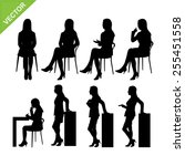 business woman silhouettes... | Shutterstock .eps vector #255451558
