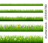 big grass set with butterfly... | Shutterstock .eps vector #255454780