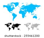 world map illustration isolated ... | Shutterstock . vector #255461200