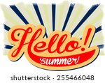 hello  summer  retro style | Shutterstock .eps vector #255466048