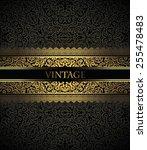 invitation card baroque golden... | Shutterstock .eps vector #255478483