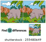 find differences  rhino  | Shutterstock .eps vector #255480649