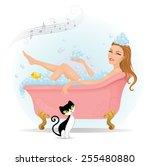 beautiful woman taking a bath... | Shutterstock .eps vector #255480880
