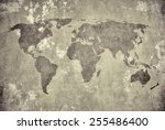 grunge map of the world  | Shutterstock . vector #255486400