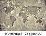grunge map of the world  | Shutterstock . vector #255486400