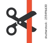 black scissors cutting red... | Shutterstock .eps vector #255496630
