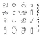 milk and dairy. set of outline... | Shutterstock .eps vector #255500380