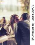 young couple kissing at the bar ... | Shutterstock . vector #255520978