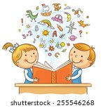 children reading a book and... | Shutterstock .eps vector #255546268