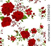 seamless pattern with red roses.... | Shutterstock .eps vector #255560410