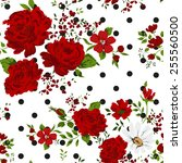 red roses. seamless floral... | Shutterstock .eps vector #255560500