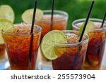 glasses with rum cocktail | Shutterstock . vector #255573904