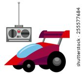 vector red control remote car... | Shutterstock .eps vector #255577684