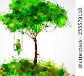 summer green tree. dreaming... | Shutterstock .eps vector #255578110