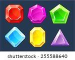 cartoon vector gems and... | Shutterstock .eps vector #255588640