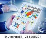 digital tablet working... | Shutterstock . vector #255605374