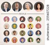 faces people diversity...   Shutterstock . vector #255607228