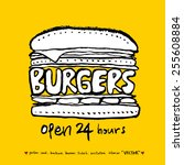hand drawn restaurant poster    ... | Shutterstock .eps vector #255608884