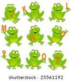 happy green frogs holding... | Shutterstock .eps vector #25561192