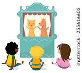 children watching puppet show ... | Shutterstock .eps vector #255616603