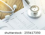 stethoscope and medical check... | Shutterstock . vector #255617350